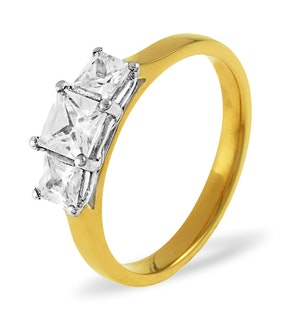 LAUREN 18K GOLD 3 STONE DIAMOND RING 0.25CT H/SI