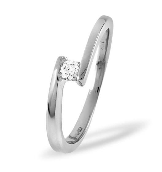 18K White Gold Diamond Engagement Ring 0.10ct H/si
