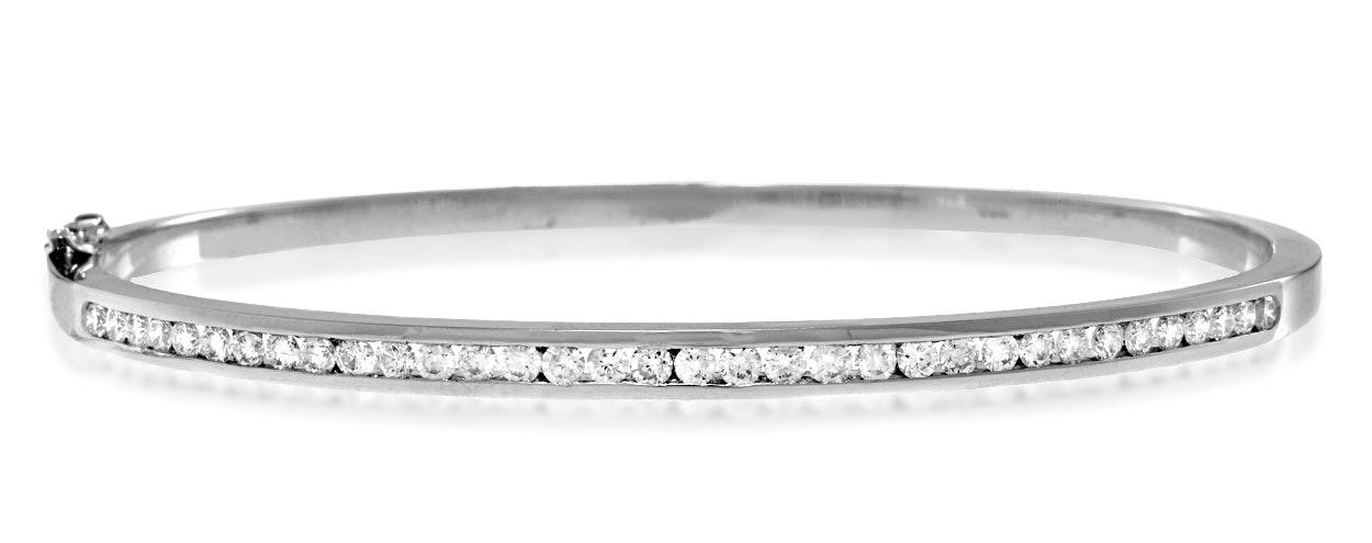 18K White Gold Diamond Bangle 1.00ct H/Si