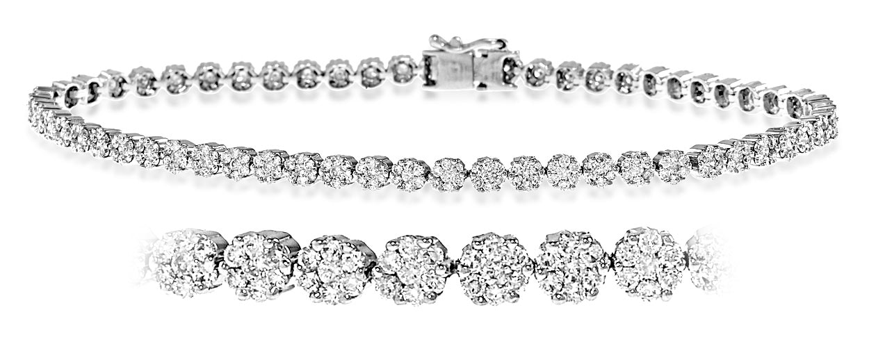 Chloe 18K White Gold Diamond Bracelet 7.00ct G/Vs