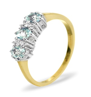 BLUE TOPAZ 0.50CT AND DIAMOND 9K YELLOW GOLD RING