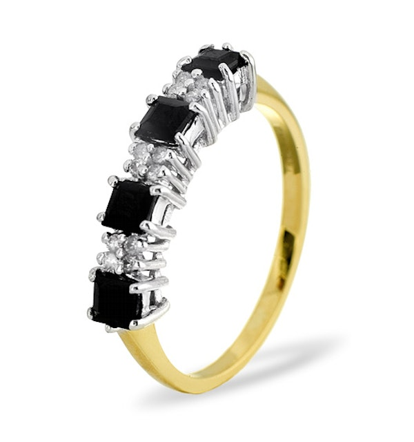 Sapphire 3mm And Diamond 9K Gold Ring - image 1