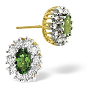 9K GOLD DIAMOND TSAVORITE EARRINGS 0.30CT
