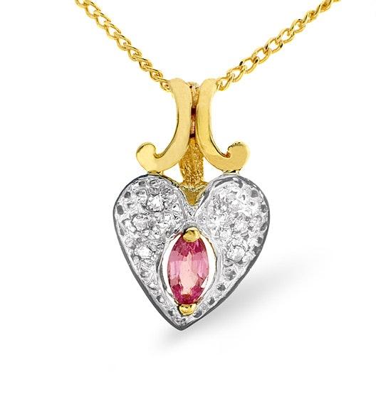 Diamond and Oval Pink Sapphire 9K Gold Pendant