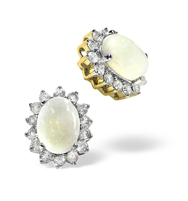 Opal 7 x 5 mm And Diamond 9K Yellow Gold Earrings - image 1