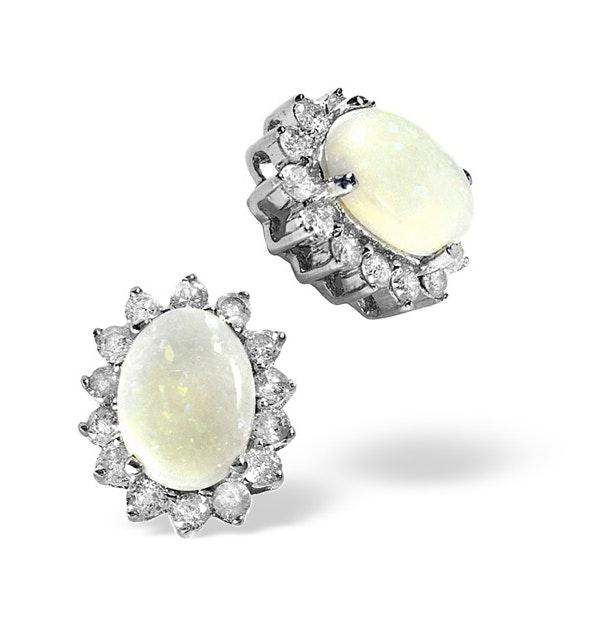 Opal 7 x 5mm And Diamond 9K White Gold Earrings - image 1