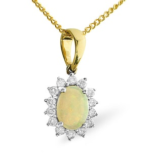 OPAL 7 X 5MM AND DIAMOND 9K GOLD PENDANT