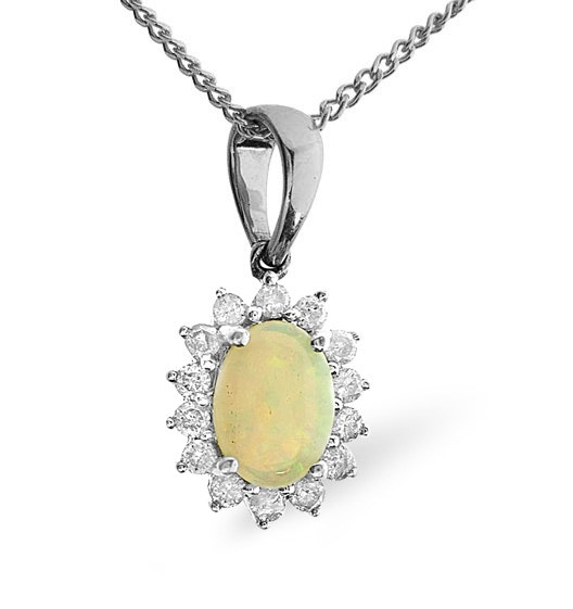 Opal 7 x 5mm And Diamond 9K White Gold Pendant