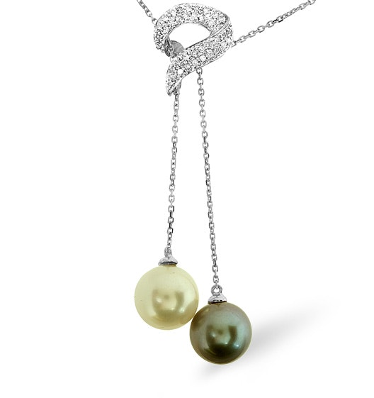 9K White Gold Diamonds and Pearls Necklace 0.21CT