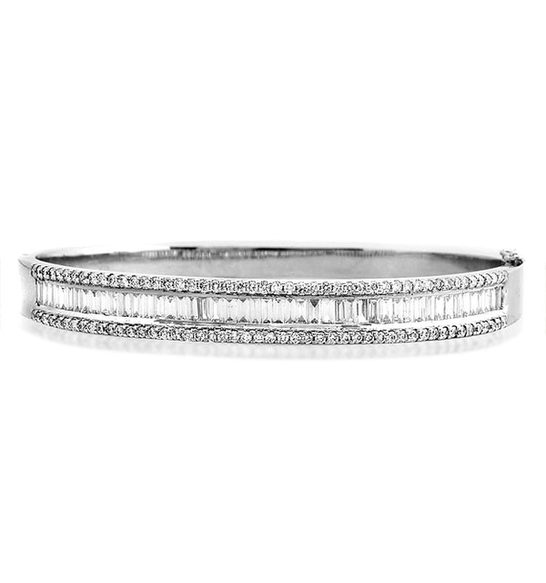 18K White Gold Diamond Bangle 2.00ct H/Si - image 1