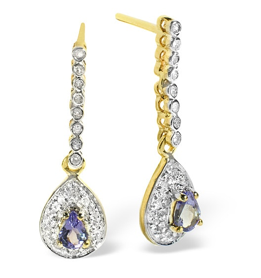 Tanzanite 0.28CT And Diamond 9K Yellow Gold Earrings