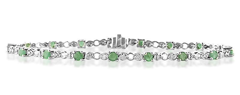 18K White Gold Diamond and Emerald Claw Set Link Bracelet