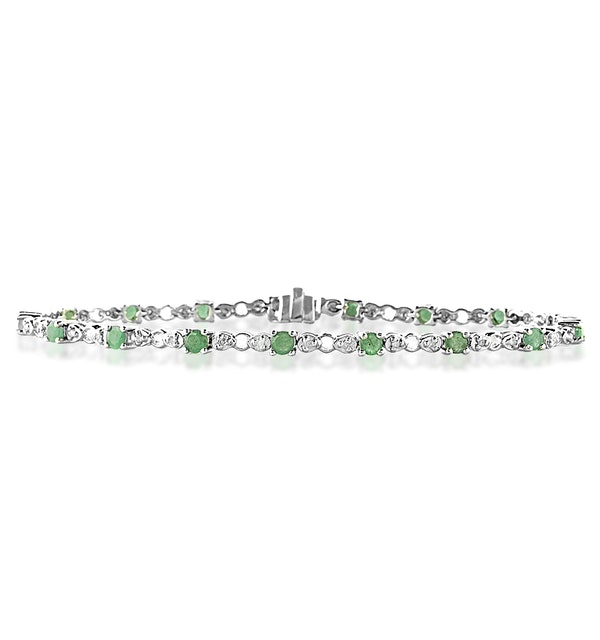 18K White Gold Diamond and Emerald Claw Set Link Bracelet - image 1