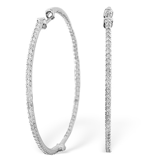 9KW Diamond Hoop Earrings 1ct