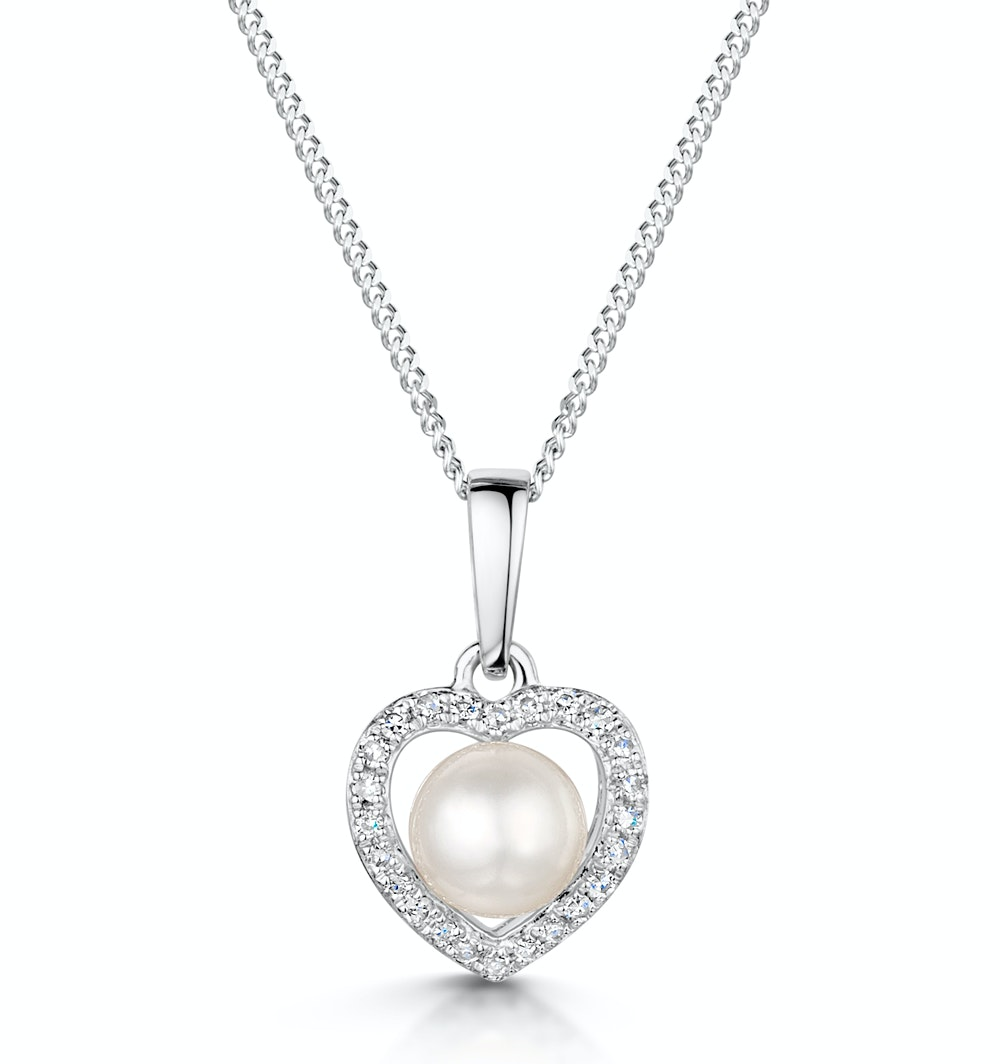 Stellato Collection Pearl and Diamond Pendant 0.06ct in 9K White Gold