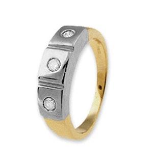 18K GOLD 3 STONE LADIES DIAMOND RING 0.15CT
