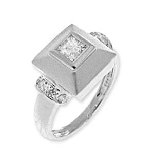 9K WHITE GOLD DIAMOND SQUARE RING
