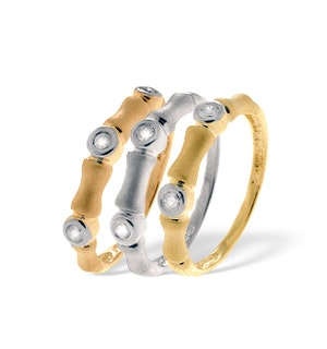 9K THREE TONE DIAMOND SET OF 3 RINGS (0.18CT)