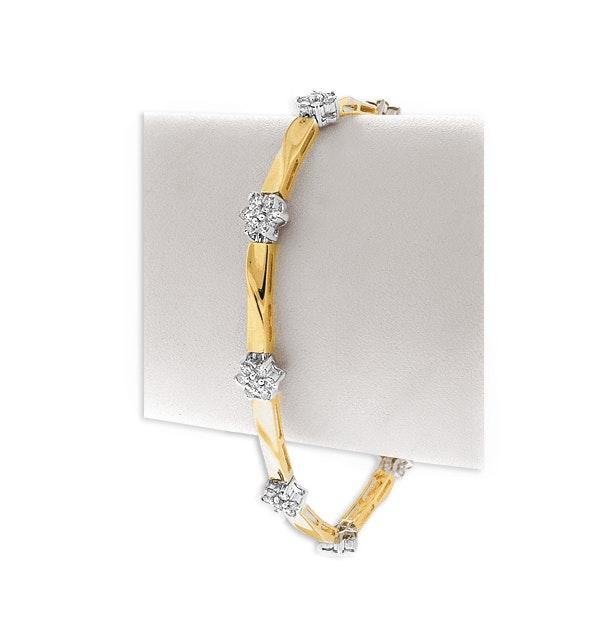 9K Gold Diamond Flower Cluster Bracelet (1.60ct) - image 1