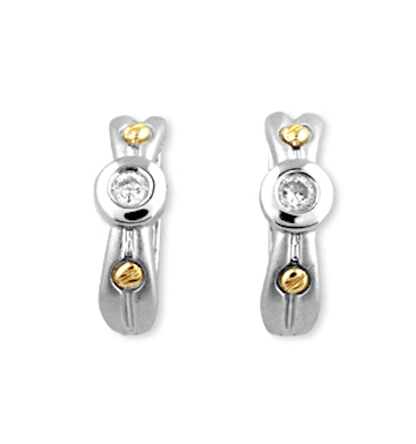 9K White Gold Diamond Earrings with Gold Detail - image 1