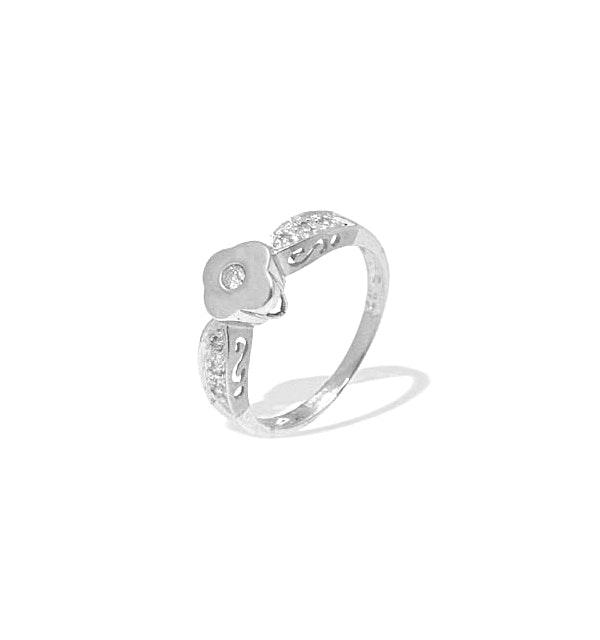 9K White Gold Diamond Flower Design Ring (0.10ct) - image 1