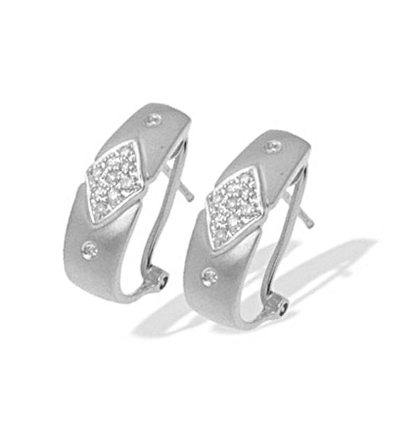 9K White Gold Diamond Design Earrings (0.20ct) - image 1