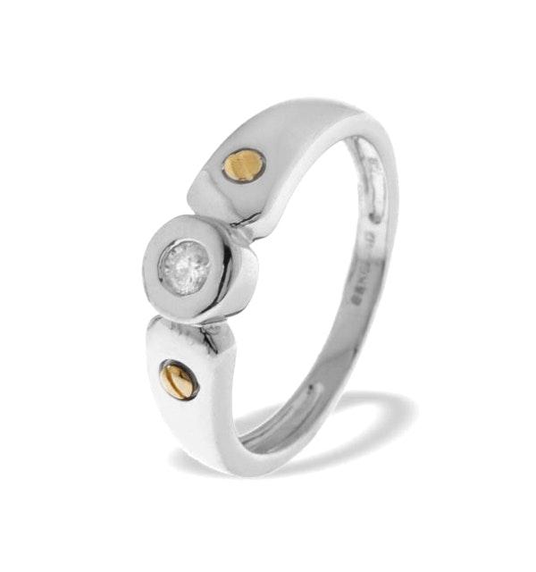 0.08ct Diamond and 9K White Gold Single Stone Ring - RTC-E3699 - image 1