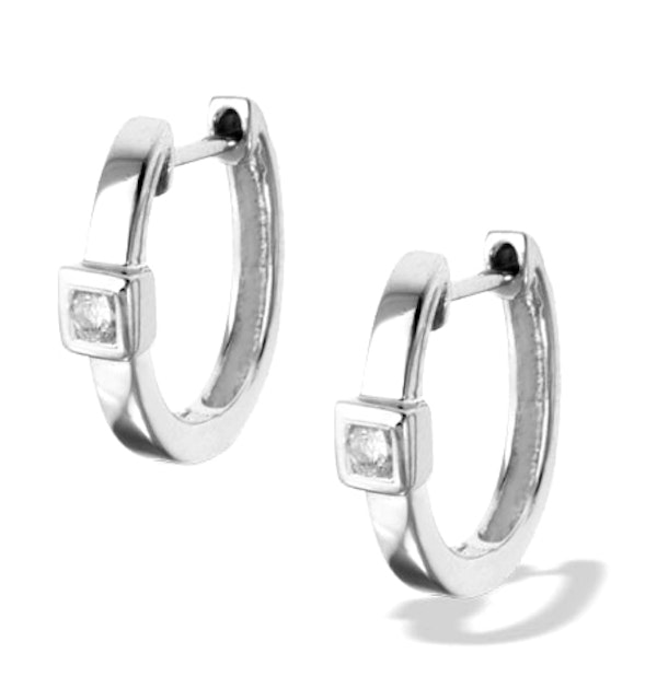 Diamond 0.09ct 9K White Gold Earrings - RTC-H3538 - image 1