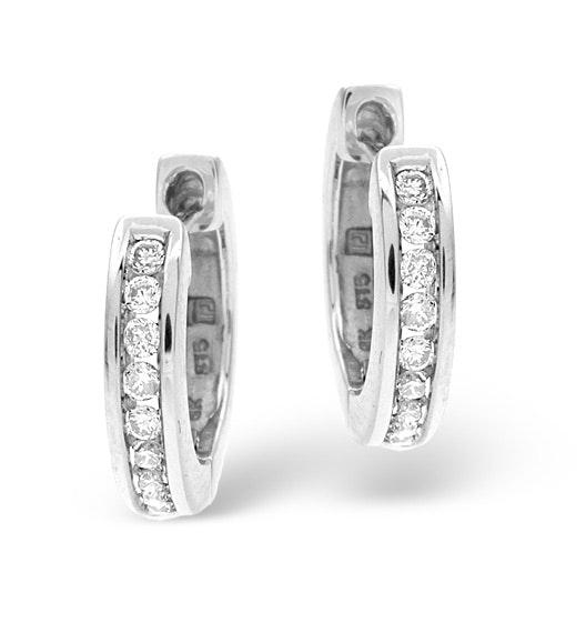Diamond Hoop Earrings 0.20ct 9K White Gold