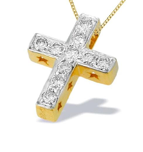 9K Gold Diamond Cross Pendant with Star Detail(0.22ct)