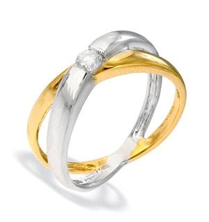 9K TWO TONE DIAMOND SET RING