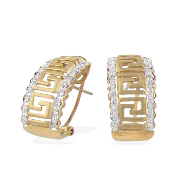 9K Gold Diamond Design Earrings (0.25ct) - image 1