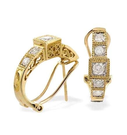9K Gold Diamond Detail Huggy Earrings (0.60ct)