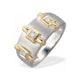 9K Two Tone Three Stone Diamond Ring - image 1