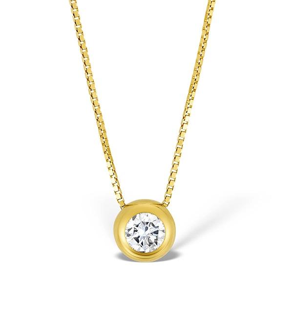 9K Gold Diamond Single Stone Rubover Necklace