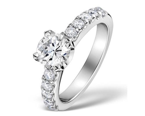 Solitaire With Diamond Shoulder Rings