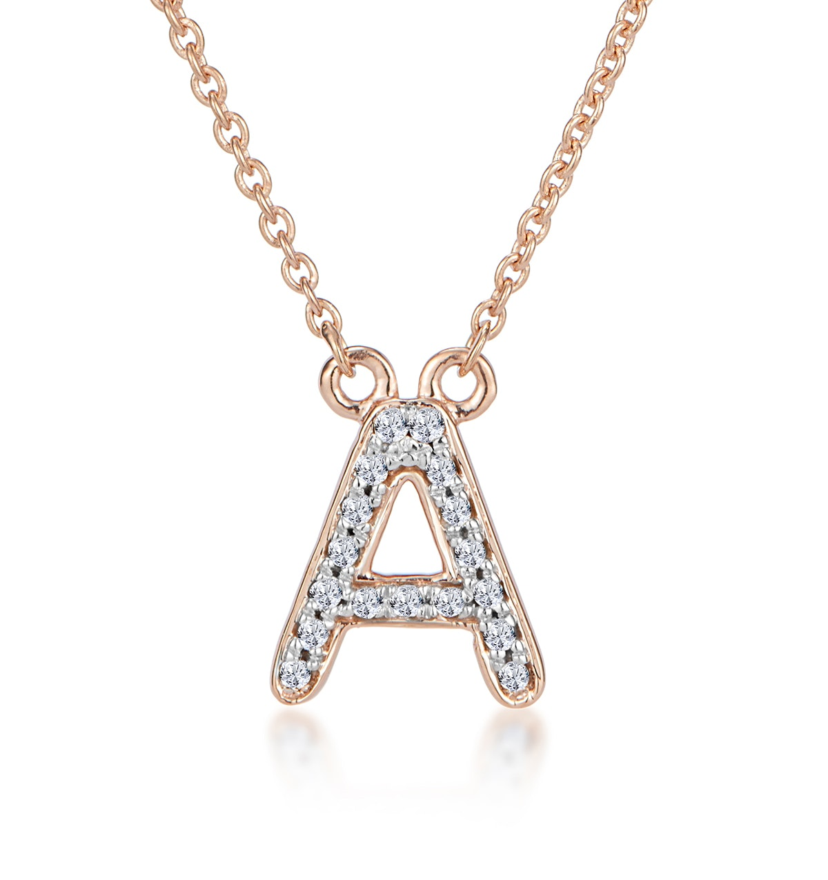 Initial 'A' Necklace Diamond Encrusted Pave Set in 9K Rose Gold