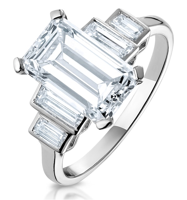 Platinum Diamond Ring 3.66ct Emerald Cut Art Deco Vintage Style G/VS1 - image 1