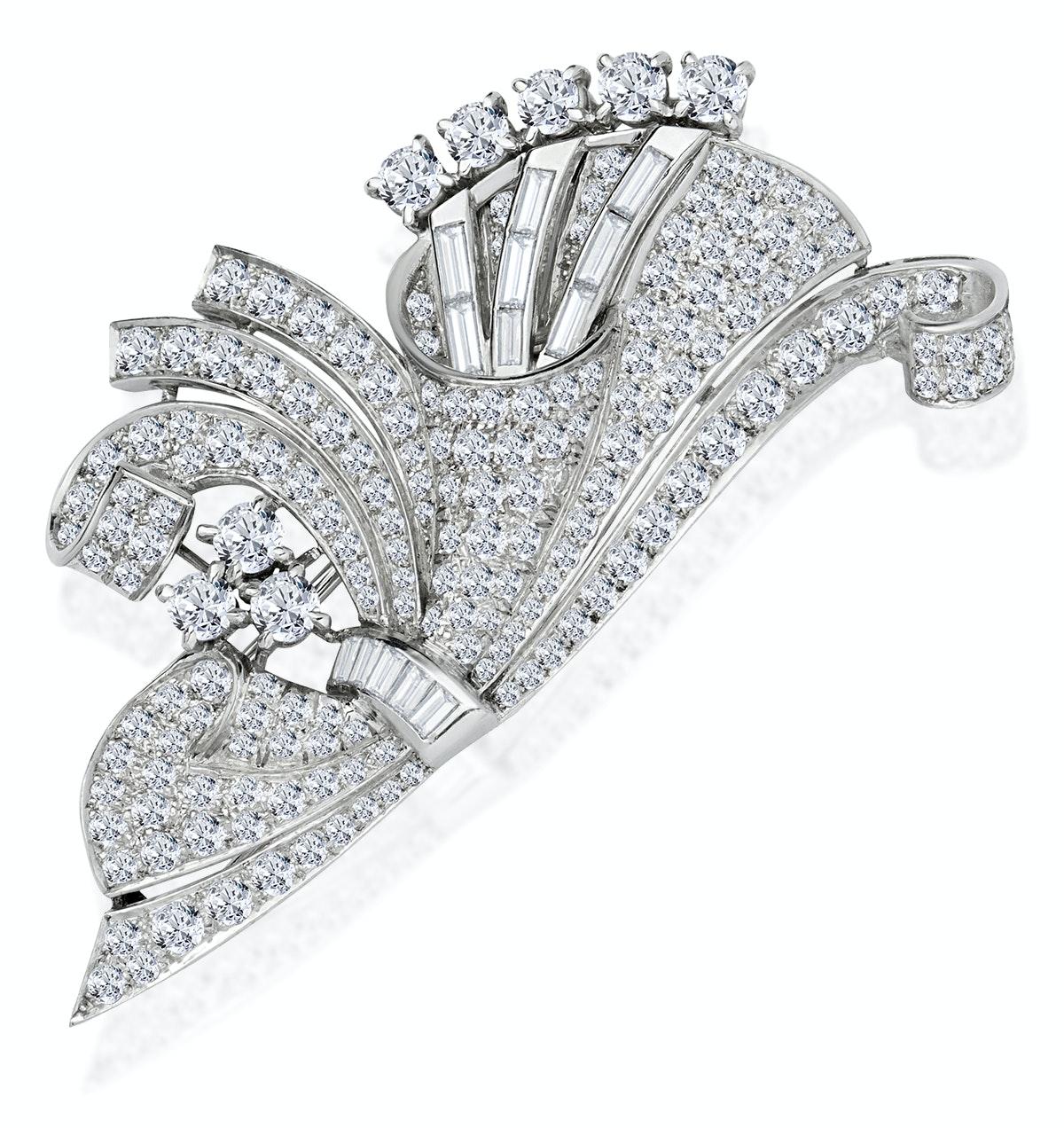 Vintage Platinum 5ct Diamond Brooch