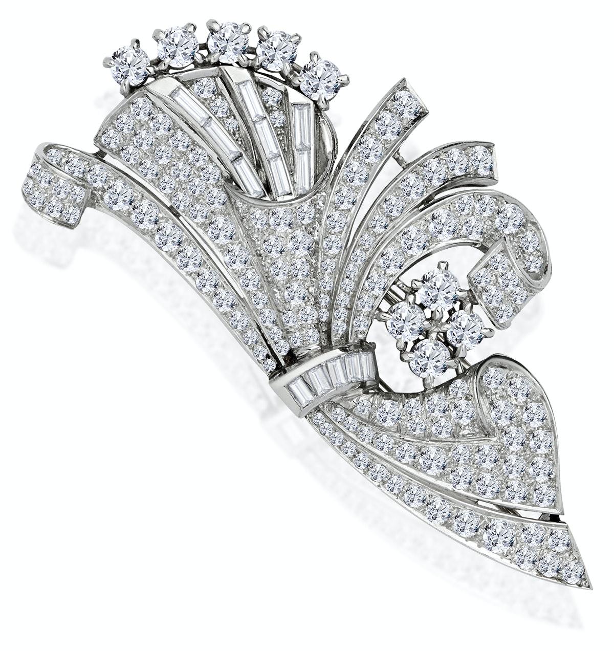 Vintage Platinum 8ct Diamond Brooch
