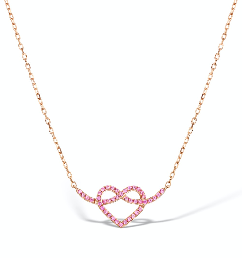 Vivara Collection Pink Sapphire 9K Rose Gold Heart Necklace D3408