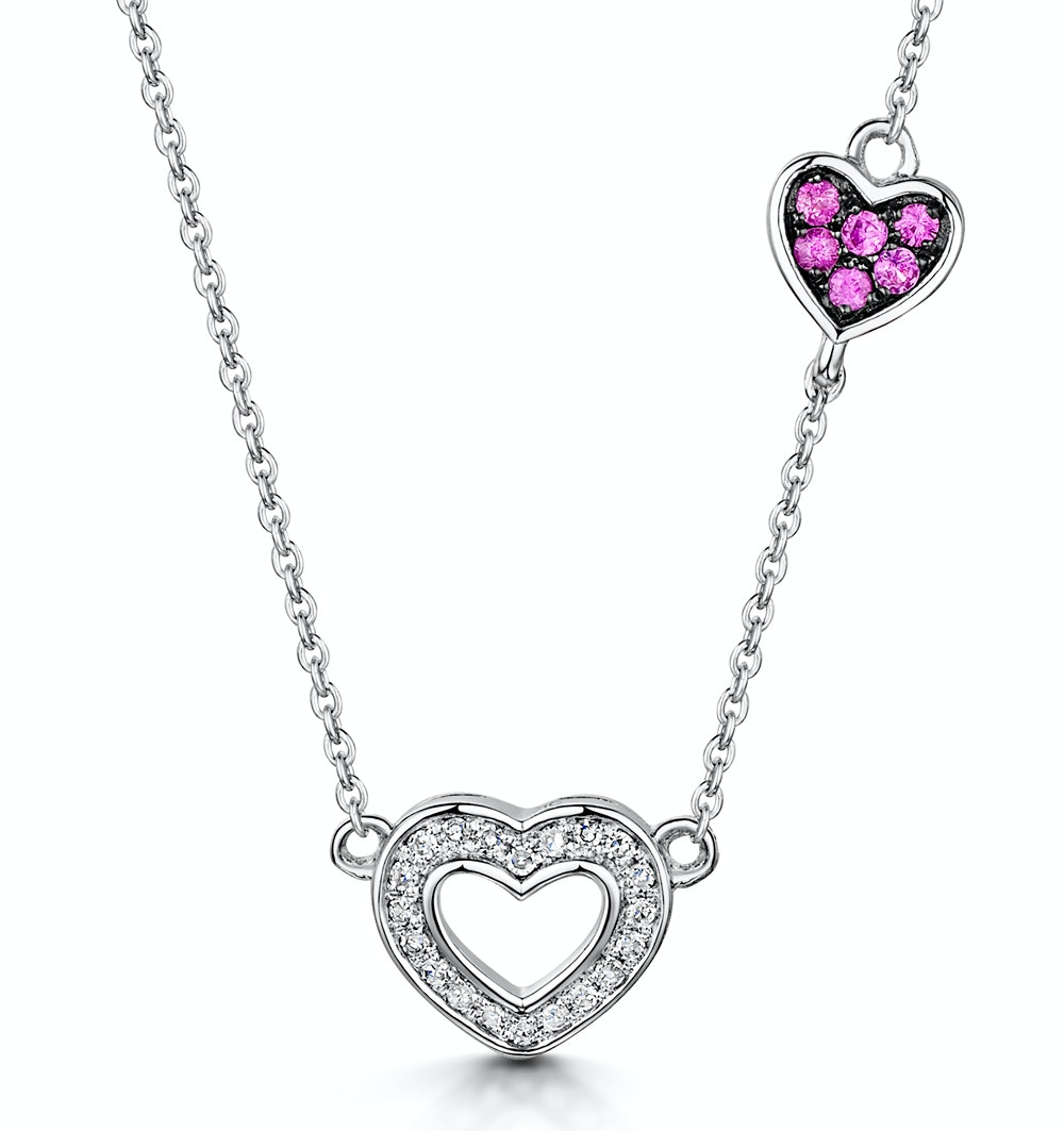 Pink Sapphire and Diamond Stellato Heart Necklace in 9KW Gold D3412