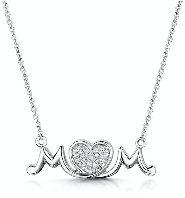 Diamond Stellato Mum Necklace 0.08ct in 9K White Gold - image 1