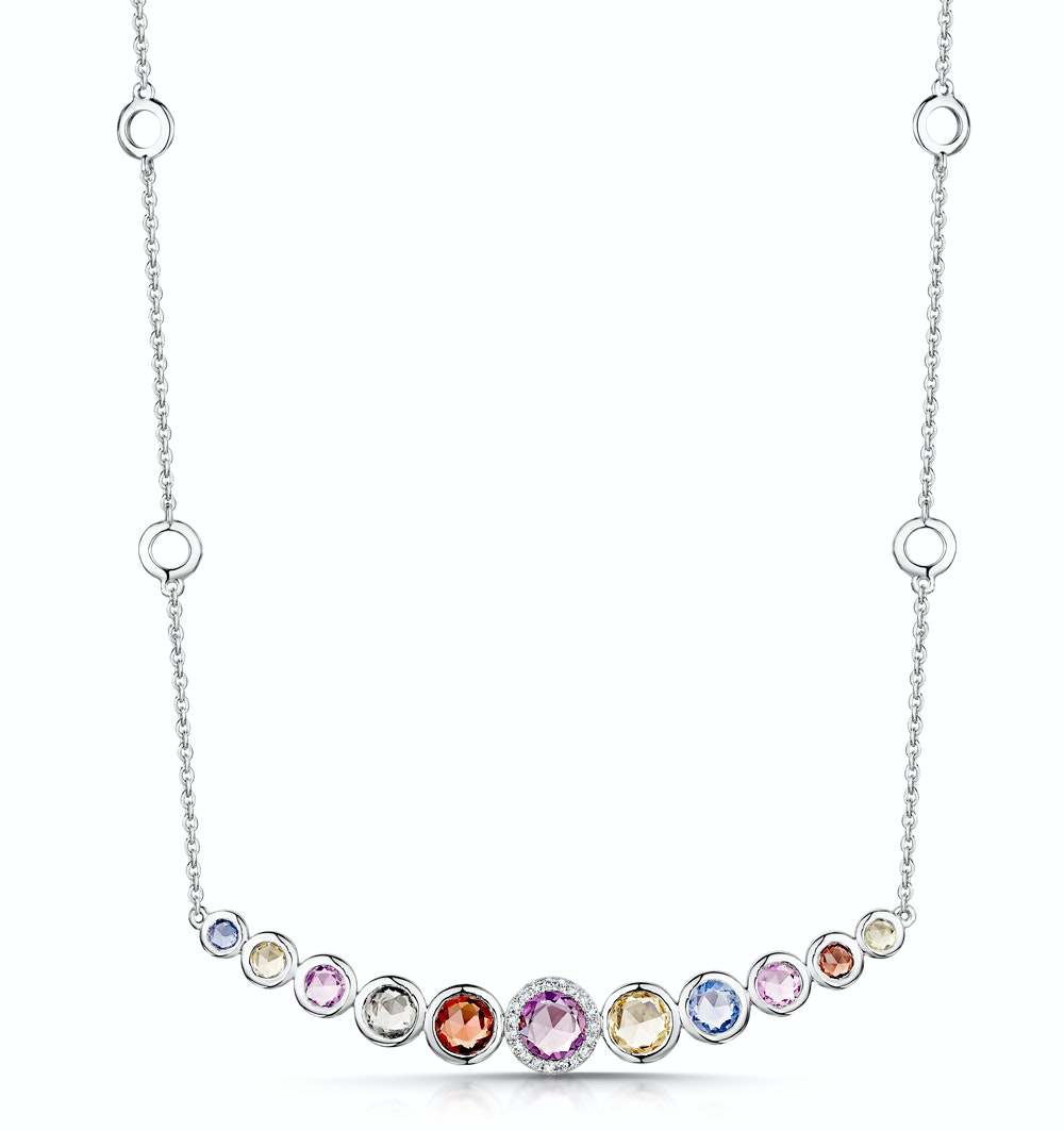 Rainbow Sapphires and Diamond Stellato Necklace 9K White Gold