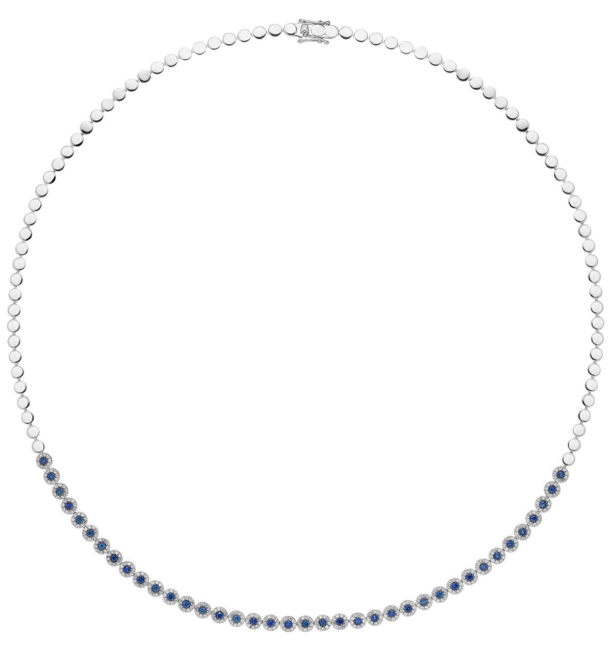 1.09ct Sapphire and Diamond Stellato Necklace in 9K White Gold