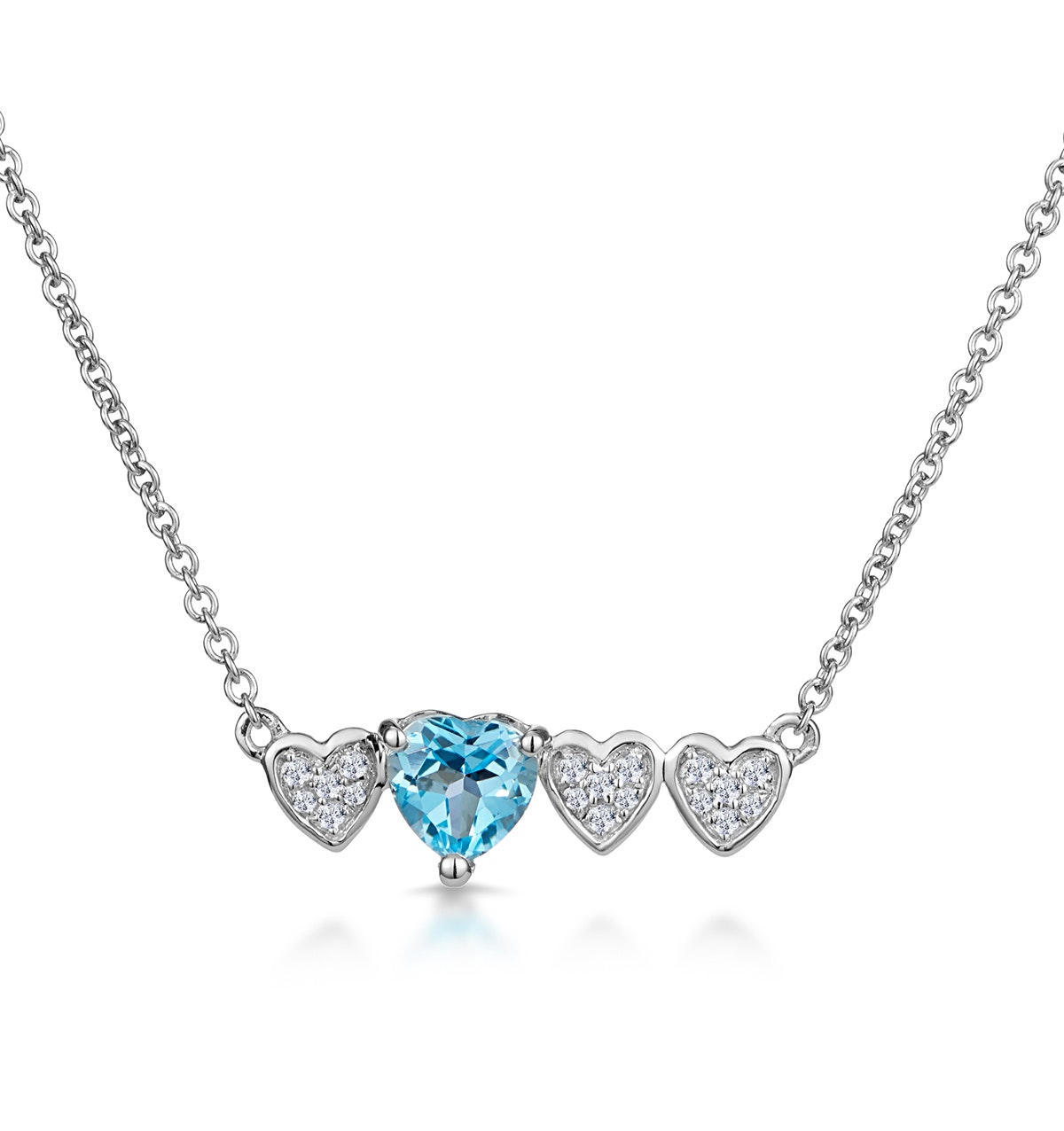 Swiss Blue Topaz and Diamond Stellato Heart Necklace in 9K White Gold