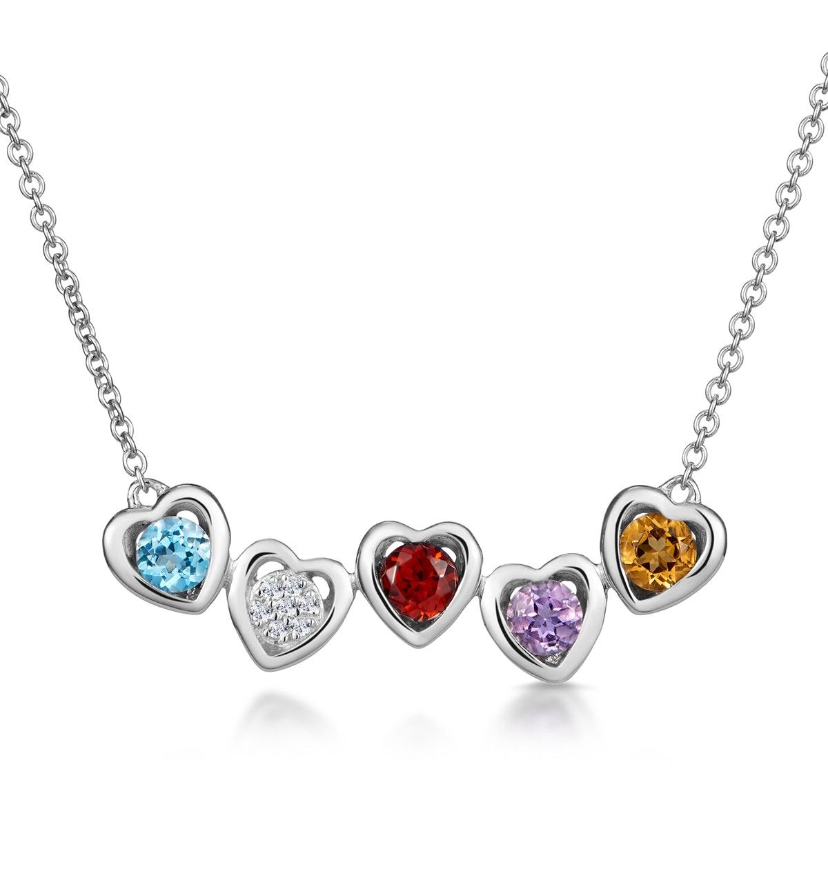 Multi Gem and Diamond Stellato Heart Necklace in 9K White Gold