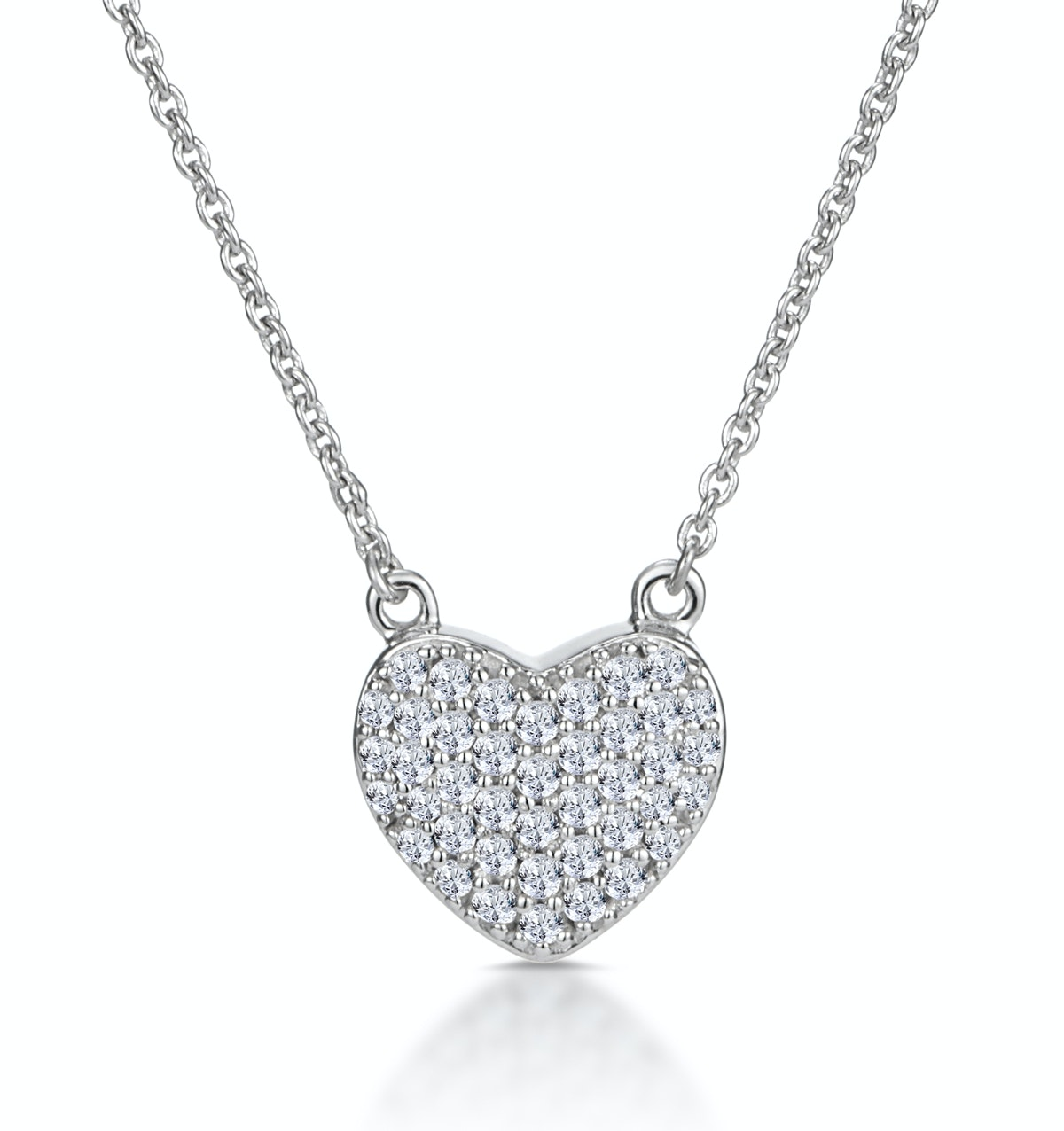 Diamond Pave Heart Necklace 0.33ct in 9K White Gold