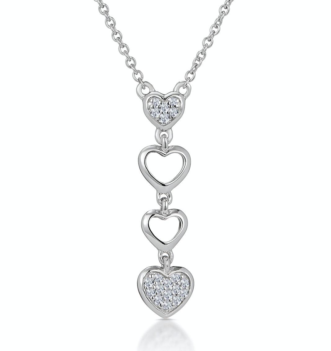 Drop Diamond Hearts Stellato Necklace in 9K White Gold