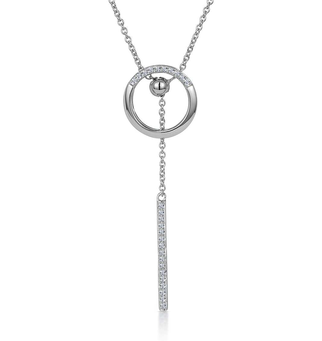 Circle and Bar Diamond Stellato Necklace in 9K White Gold